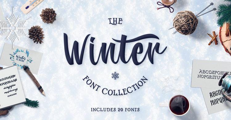 winter fonts collection font bundles. Black Bedroom Furniture Sets. Home Design Ideas