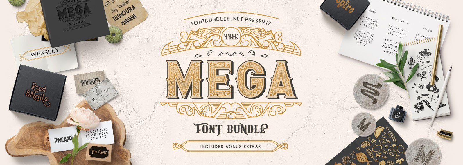 The Mega Font Bundle Cover