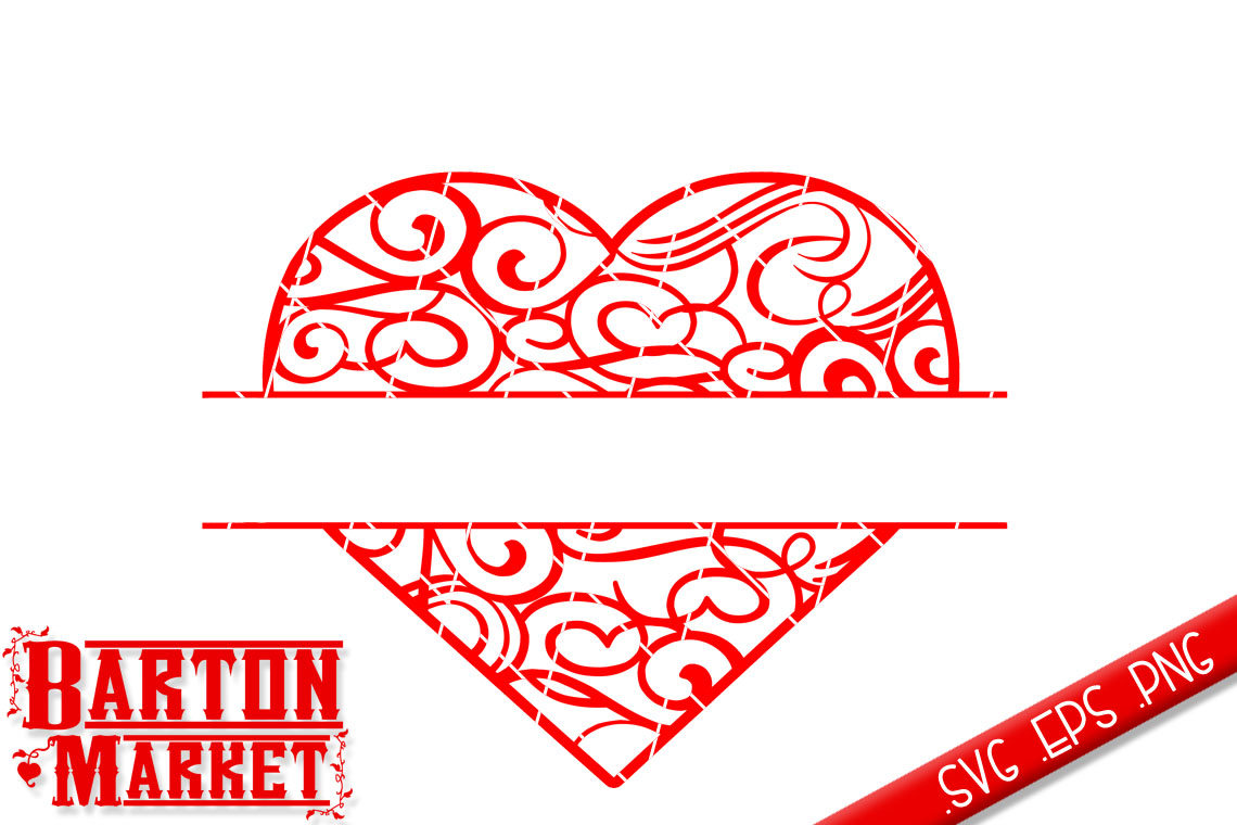 Heart Split SVG / EPS / PNG example image 2