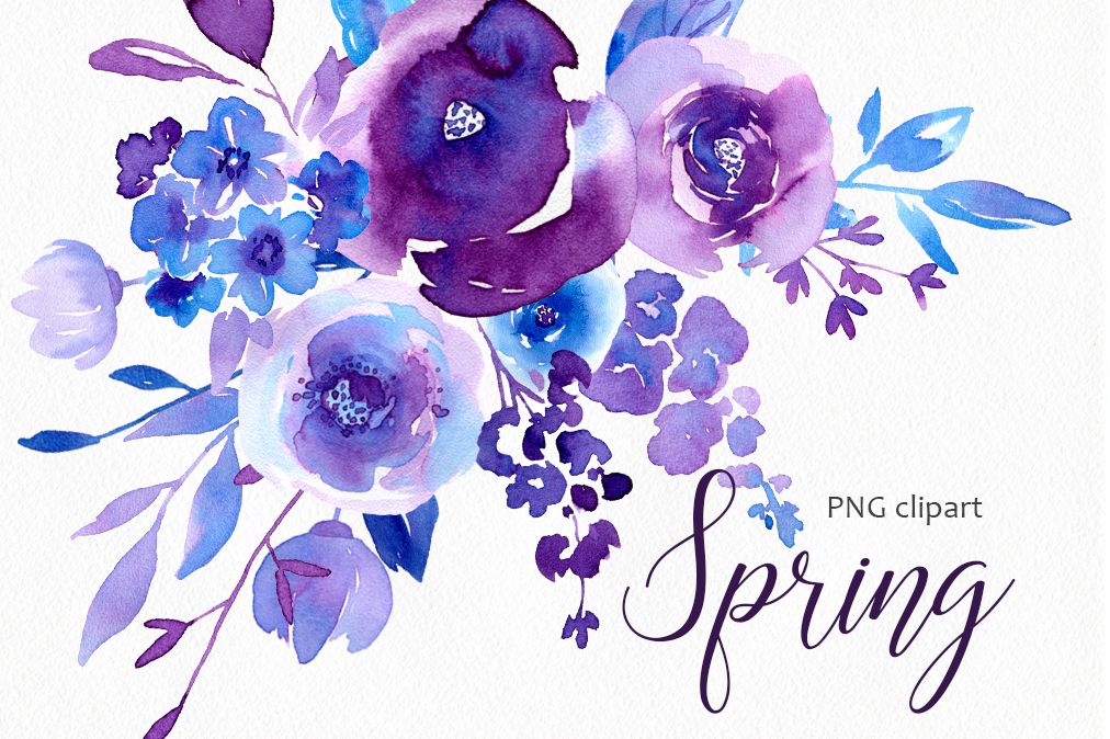 Spring Ultraviolet Blue Flowers Collection Example Image 1