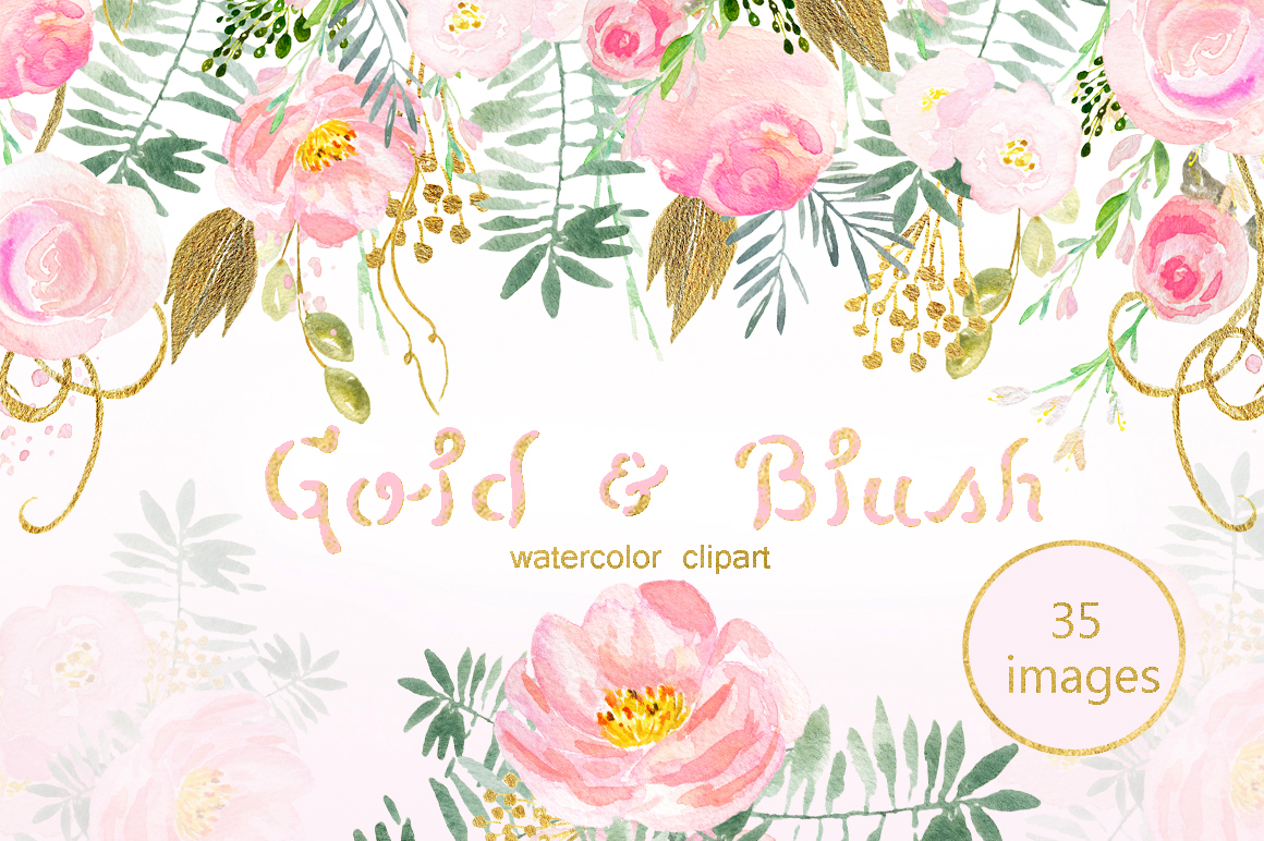 Gold & blush watercolor flowers example image 1