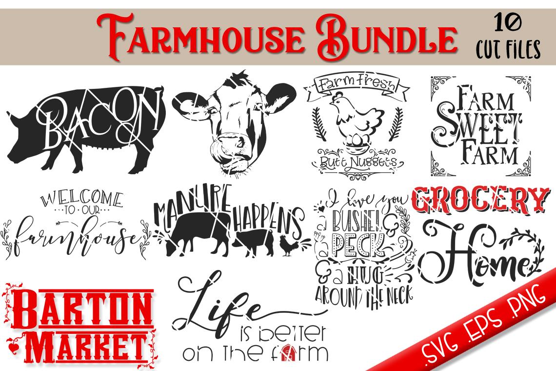 Farmhouse Bundle {10 Cut Files} SVG / EPS / PNG example image 2