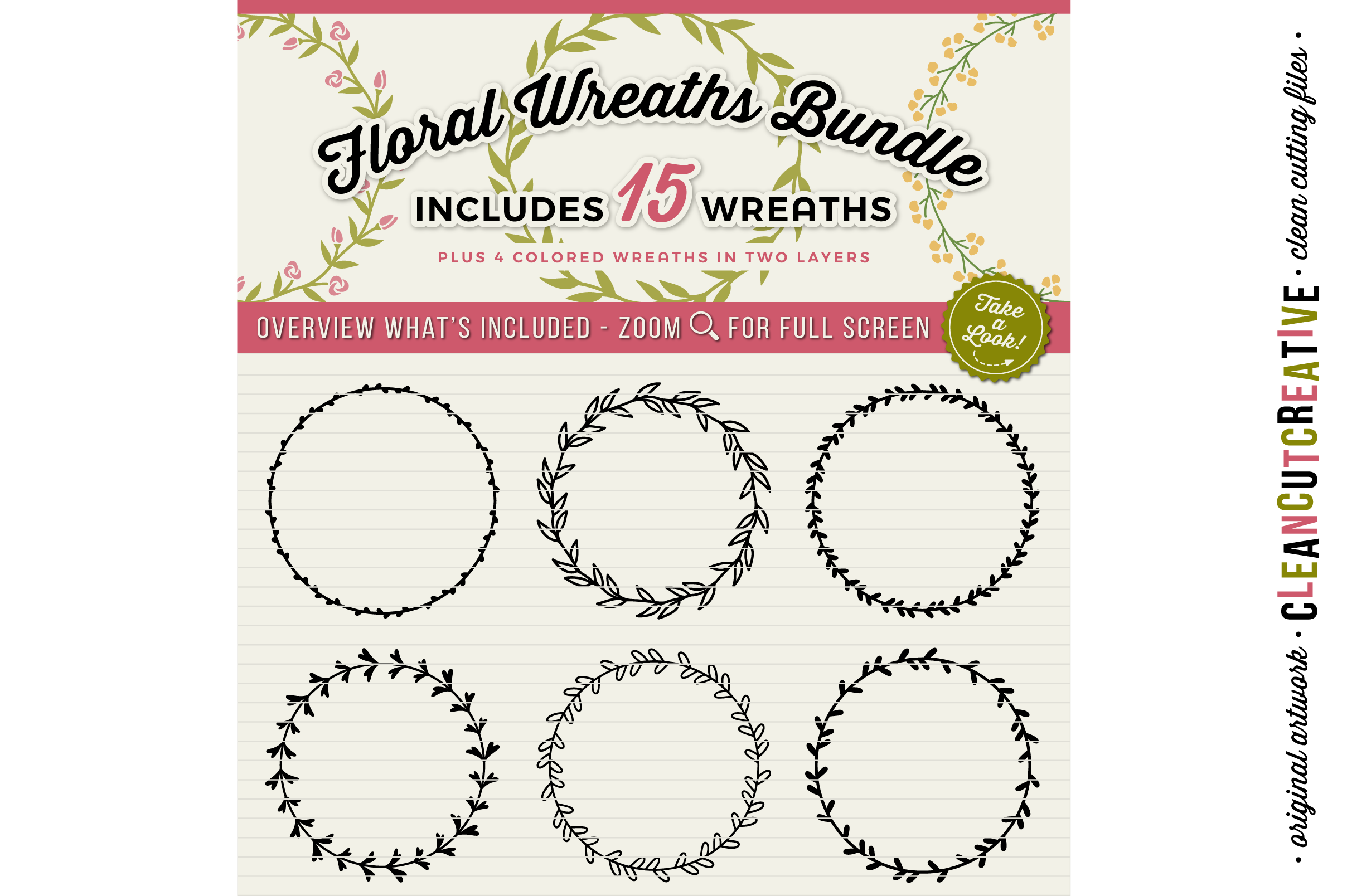 FLORAL MEGA BUNDLE 30 wreaths, laurels and hearts leaf frames - SVG DXF EPS PNG - for Cricut and Silhouette Cameo - clean cutting digital files example image 2