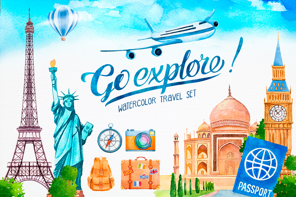 Go Explore - Watercolor Travel Set example image 1