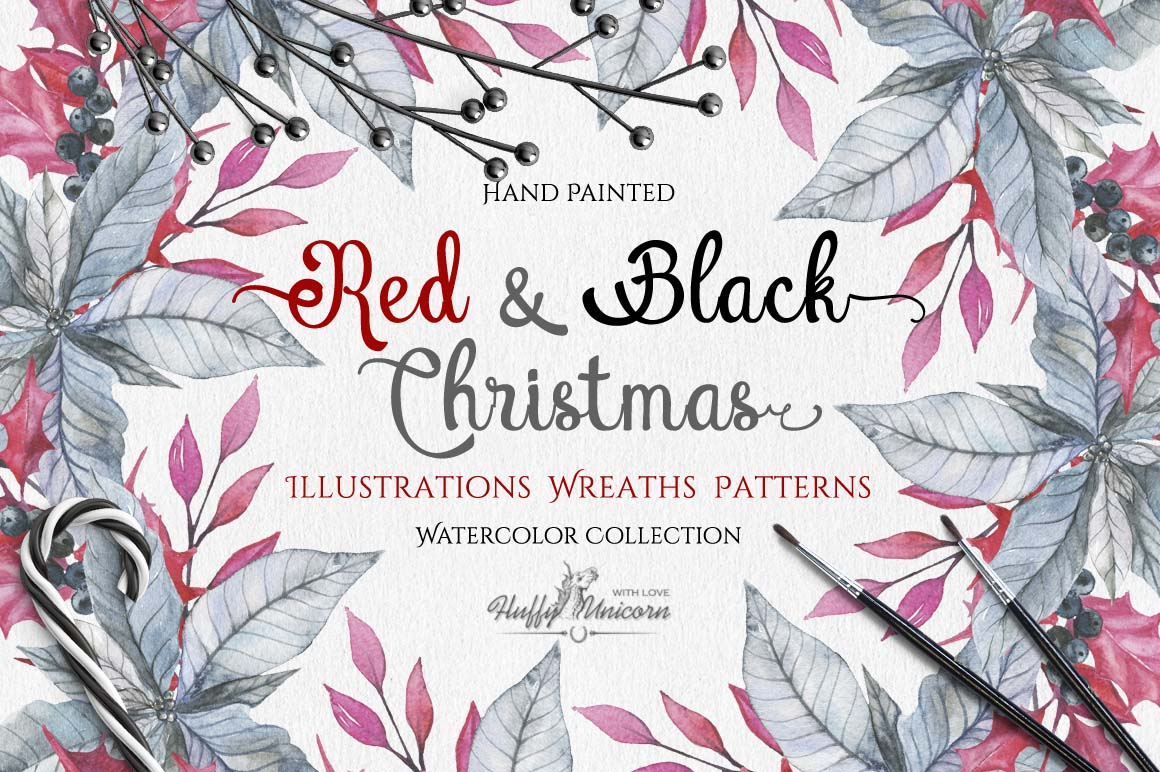 Watercolor Red & Black Christmas Set example image 4