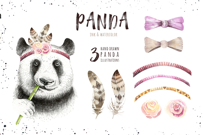 Watercolor panda illustration. Bohemian cute animals.  example image 2