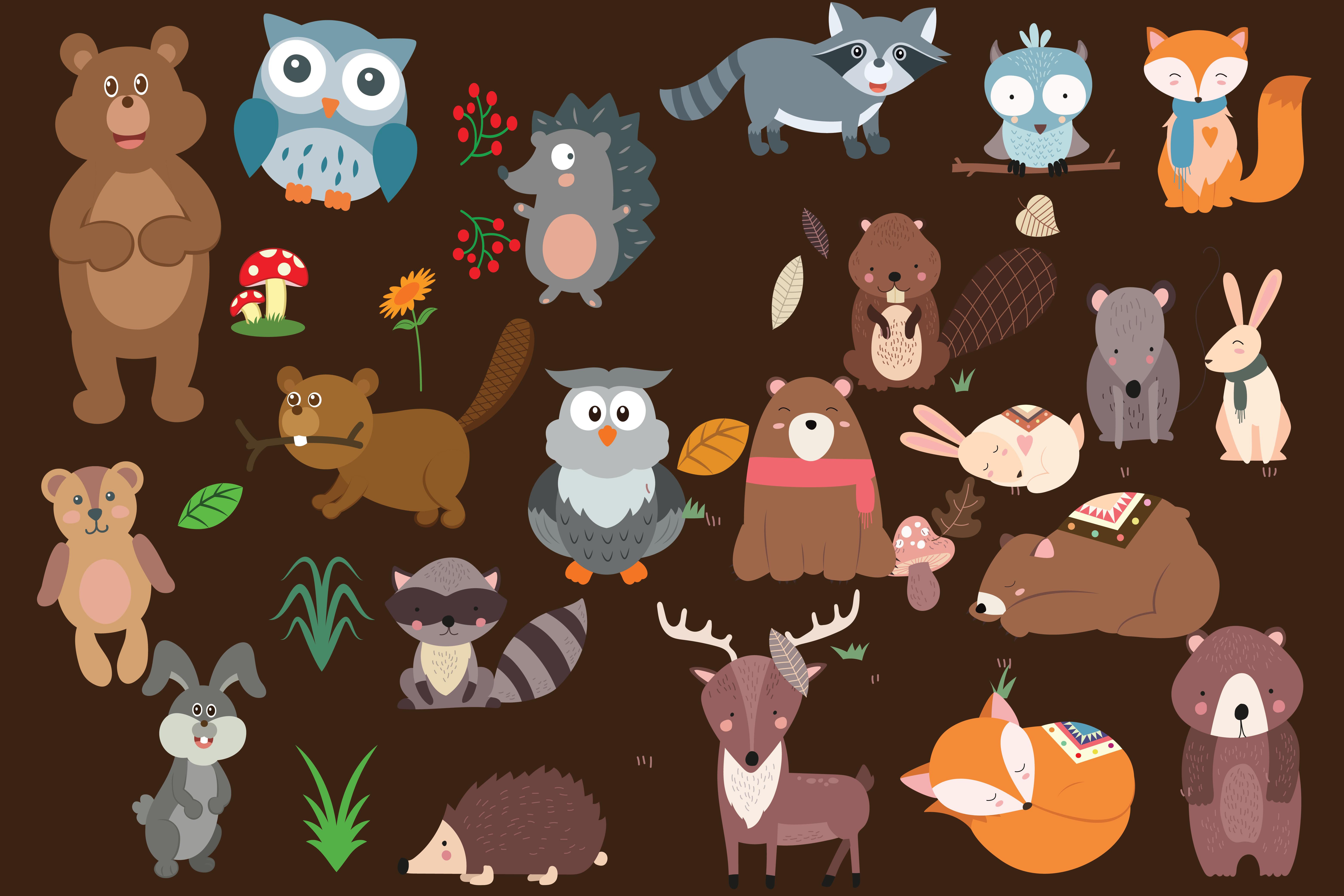 wood land animals,woodland,animals,forest animals,forest,animals,animal,fox,owl,bear example image 3