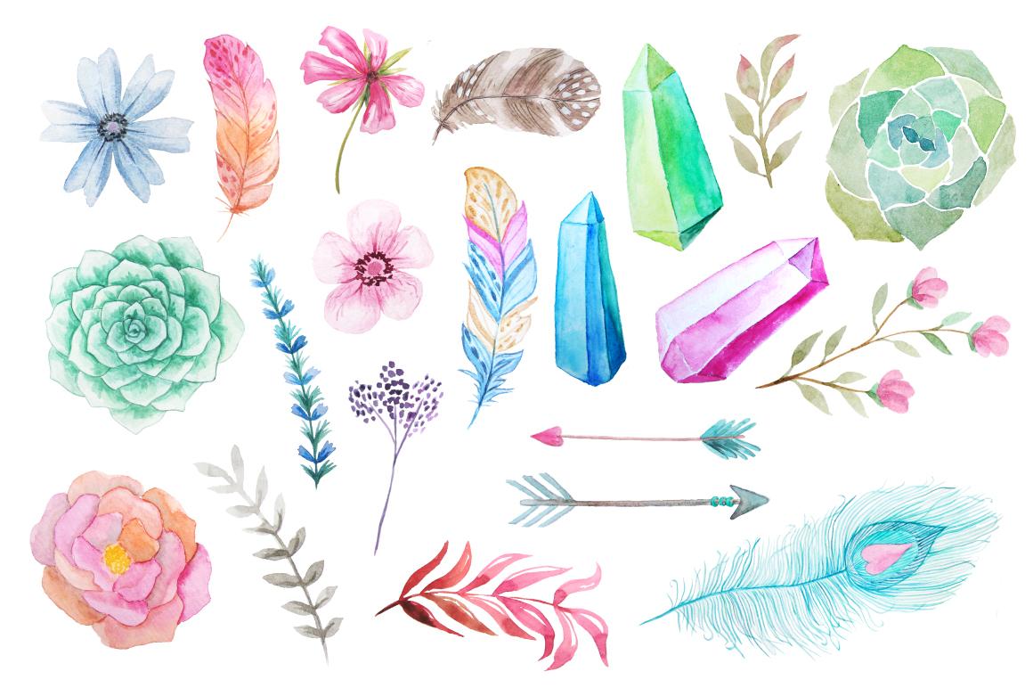 Summer Watercolor Floral BUNDLE example image 2