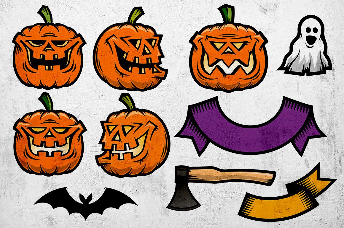Halloween Pumking Logo Set example image 8