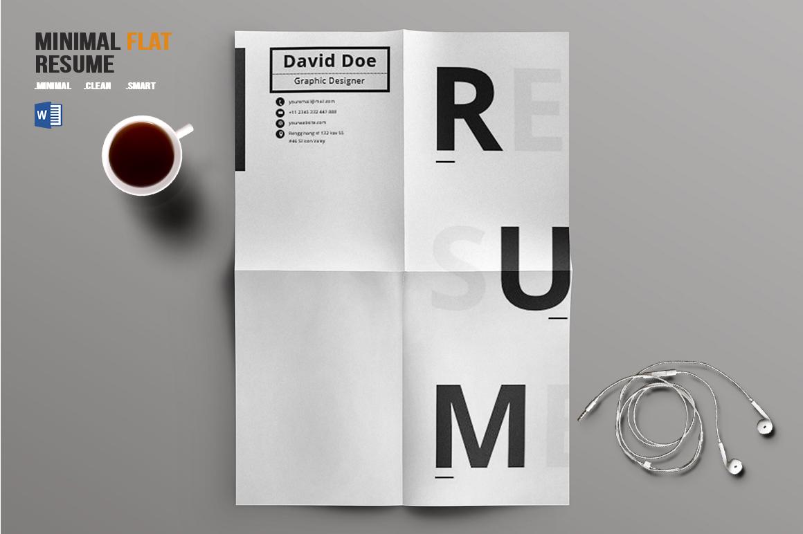 Minimal Flat Resume Template by BizzCre | Design Bundles