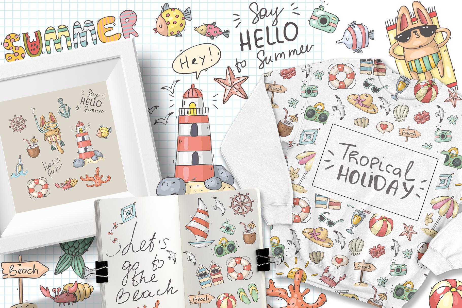 Big set of summer doodles example image 6