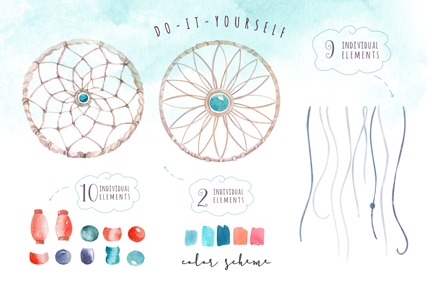 30% off Watercolor dreamcatcher III example image 9