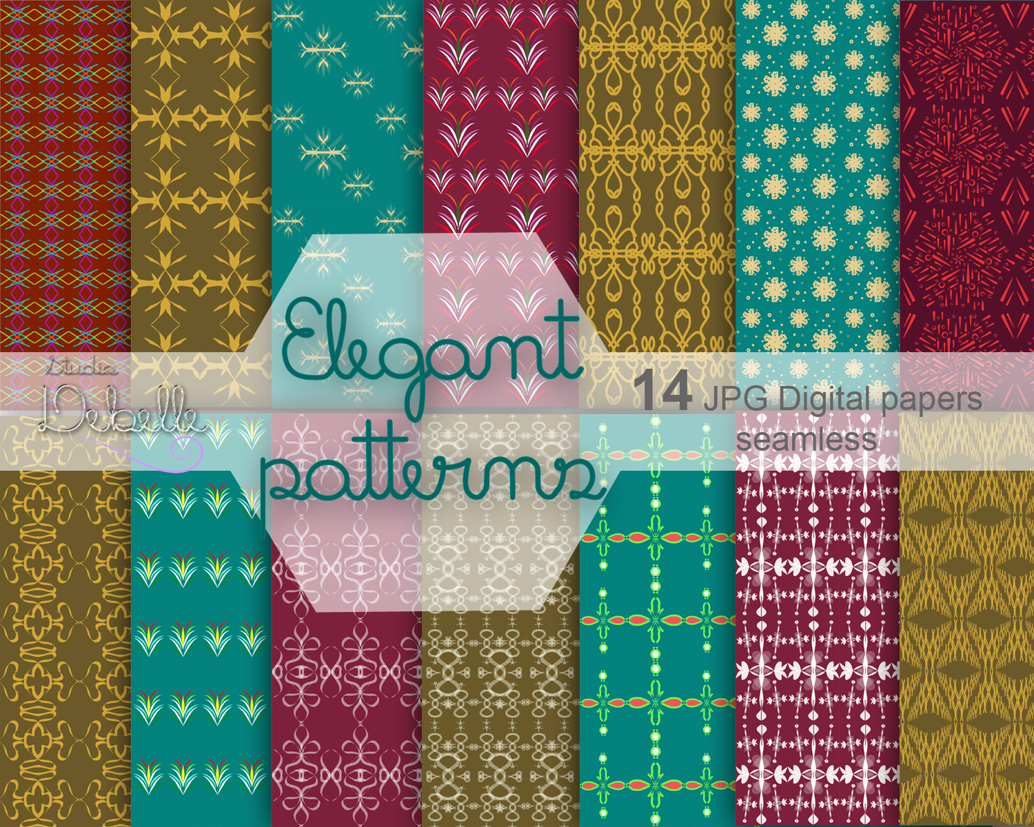 Elegant Patterns digital paper pack seamless pattern example image 1