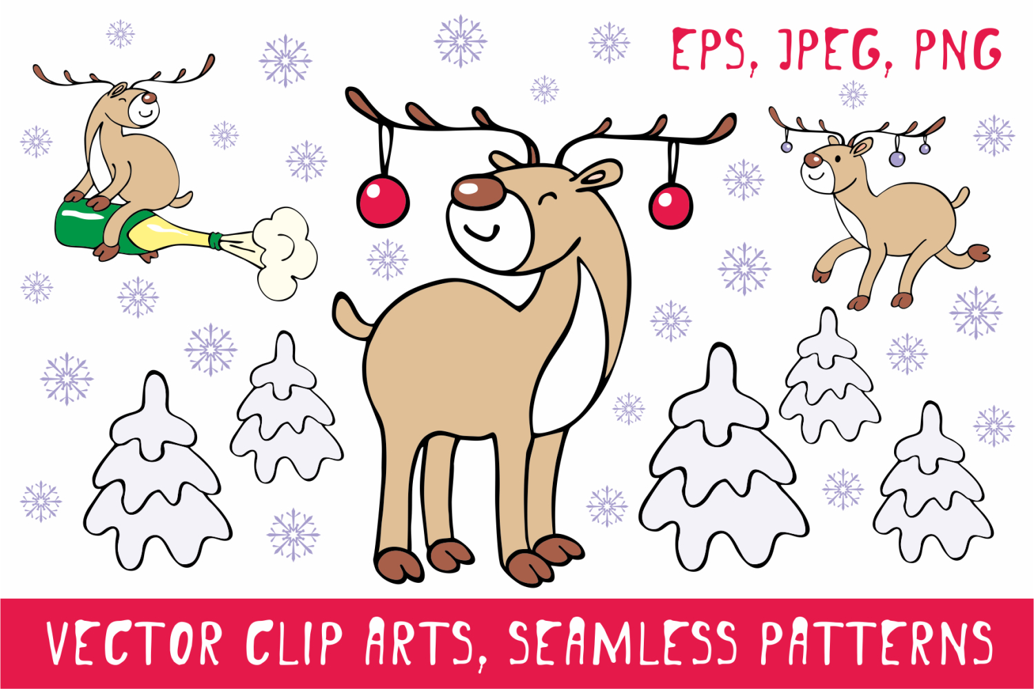 Funny deer. Christmas clip arts and seamless patterns example image 1