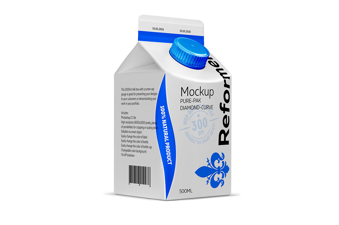 Mockup PURE-PAK/DIAMOND-CURVE 500ML example image 1