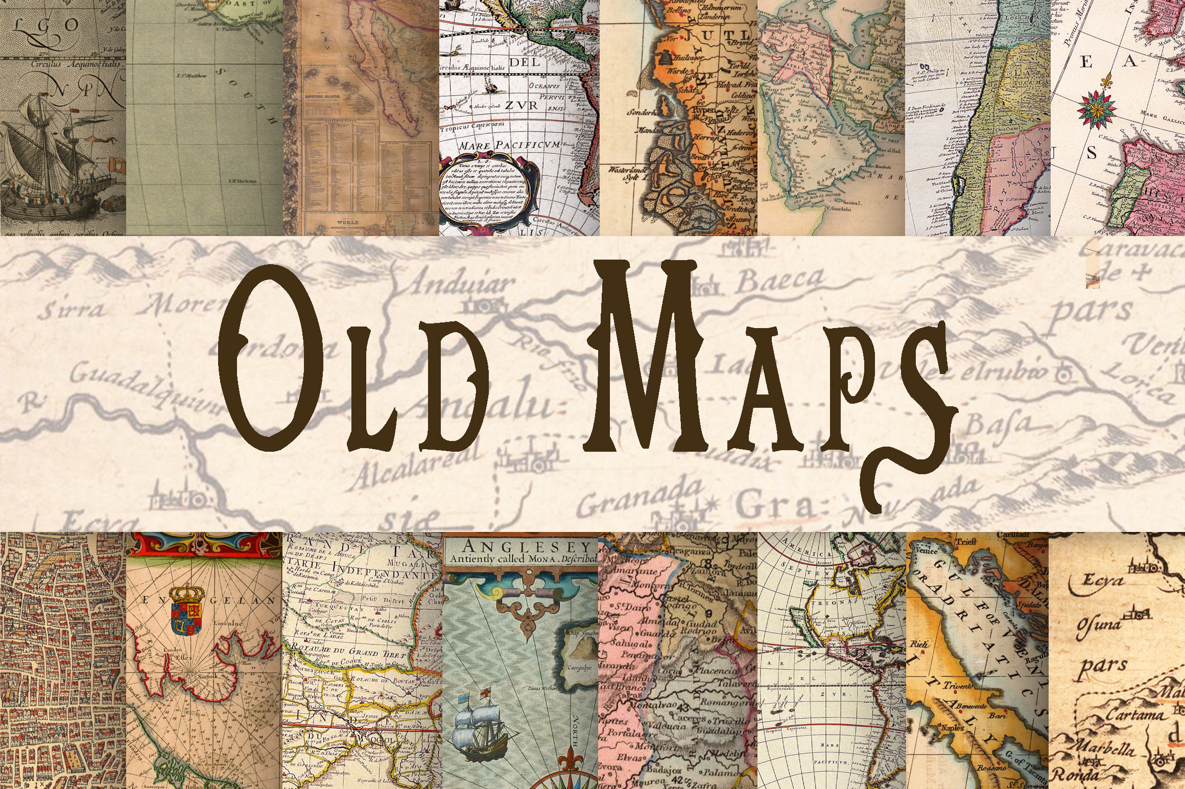 Old Maps Digital Paper example image 1