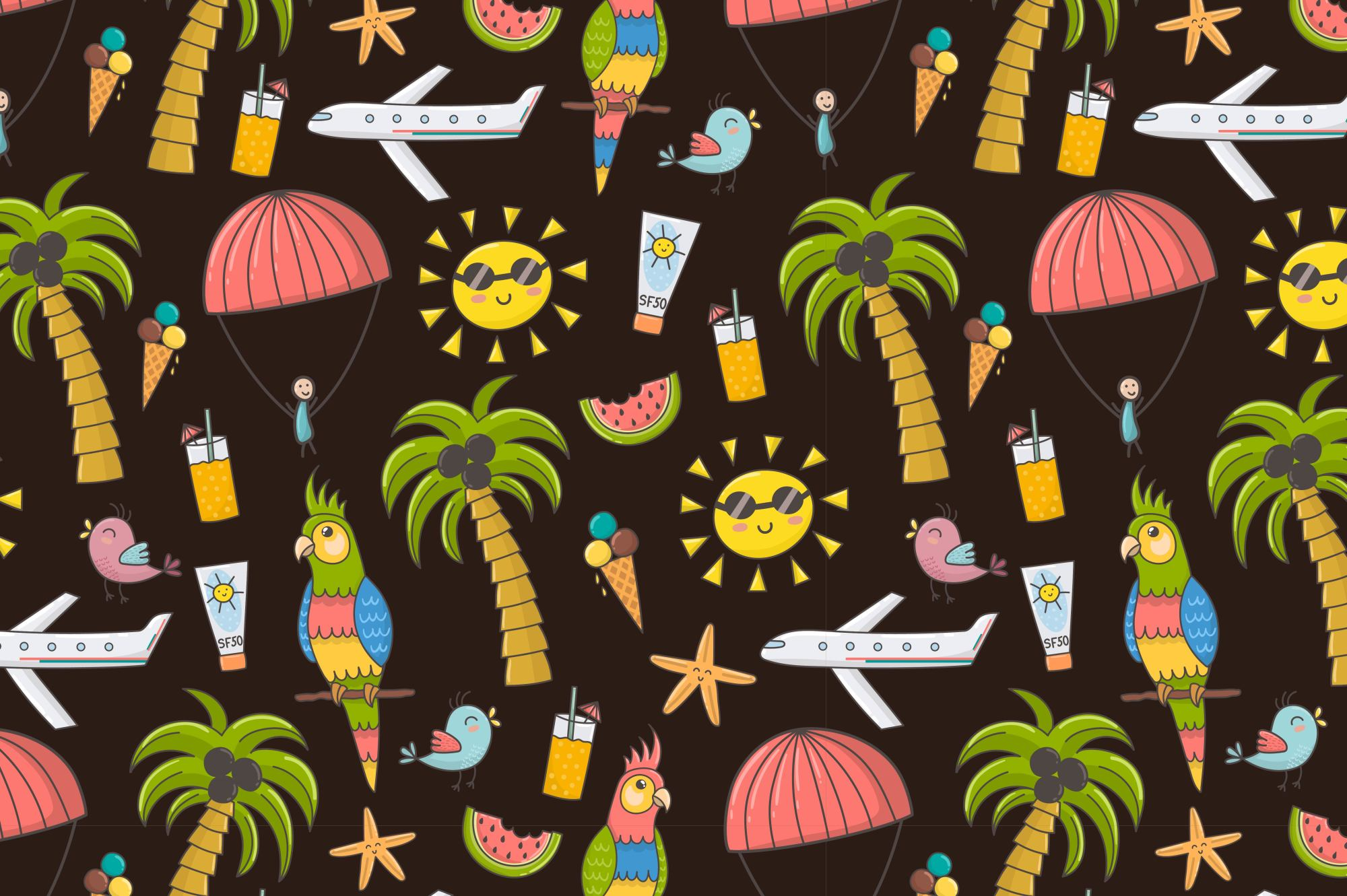 Summer Time: pattern & clipart example image 3