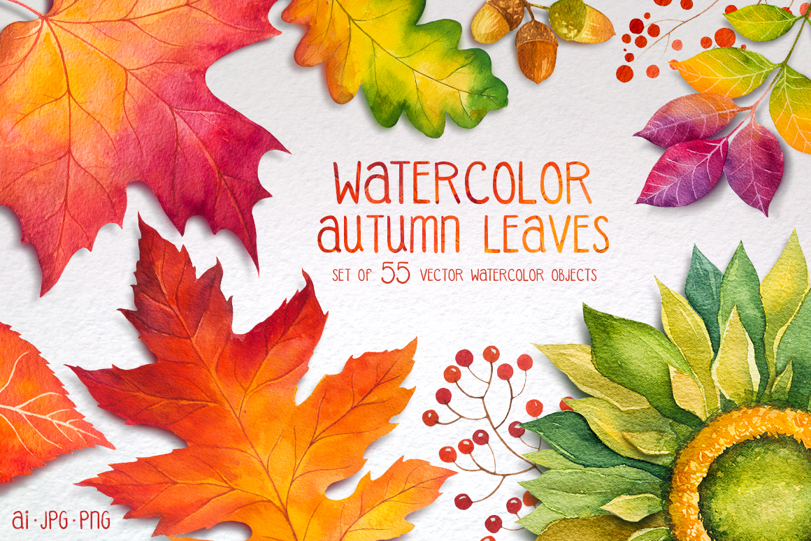 Autumn leaves. Watercolor set. example image 1