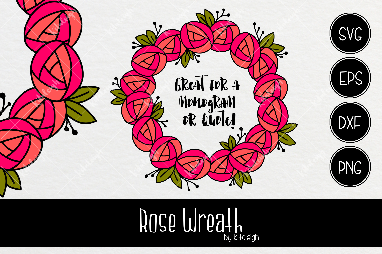 Rose Wreath Monogram Frame Example Image 1