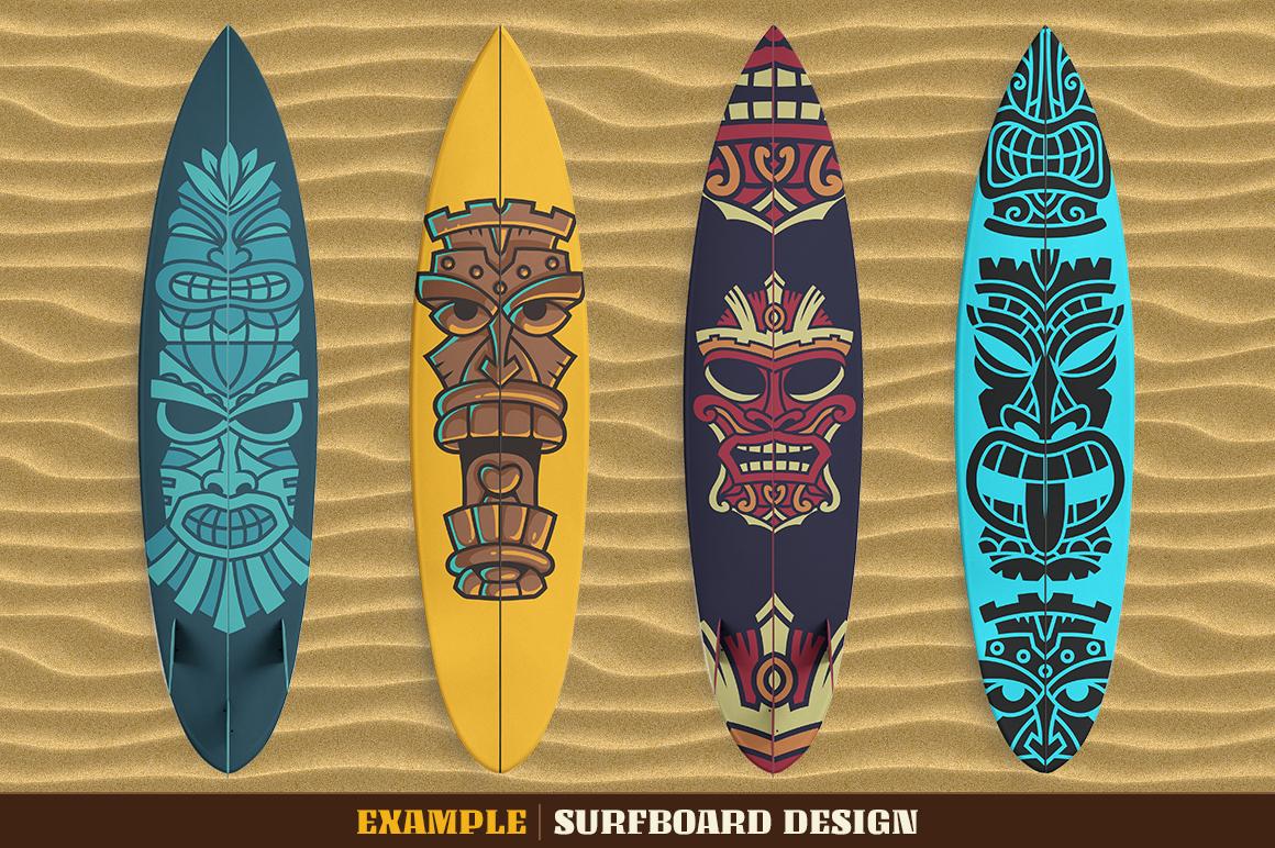 Tiki Head Illustrations Set example image 6