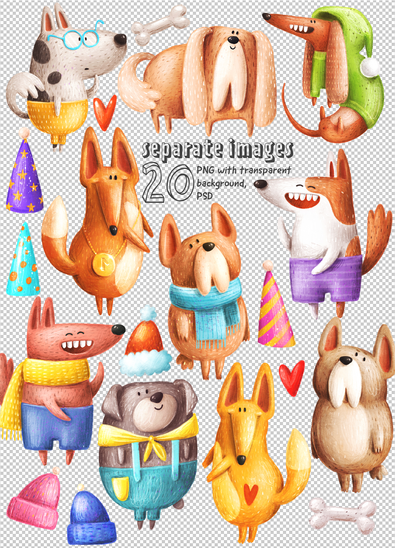 Set of funny Dogs example image 3