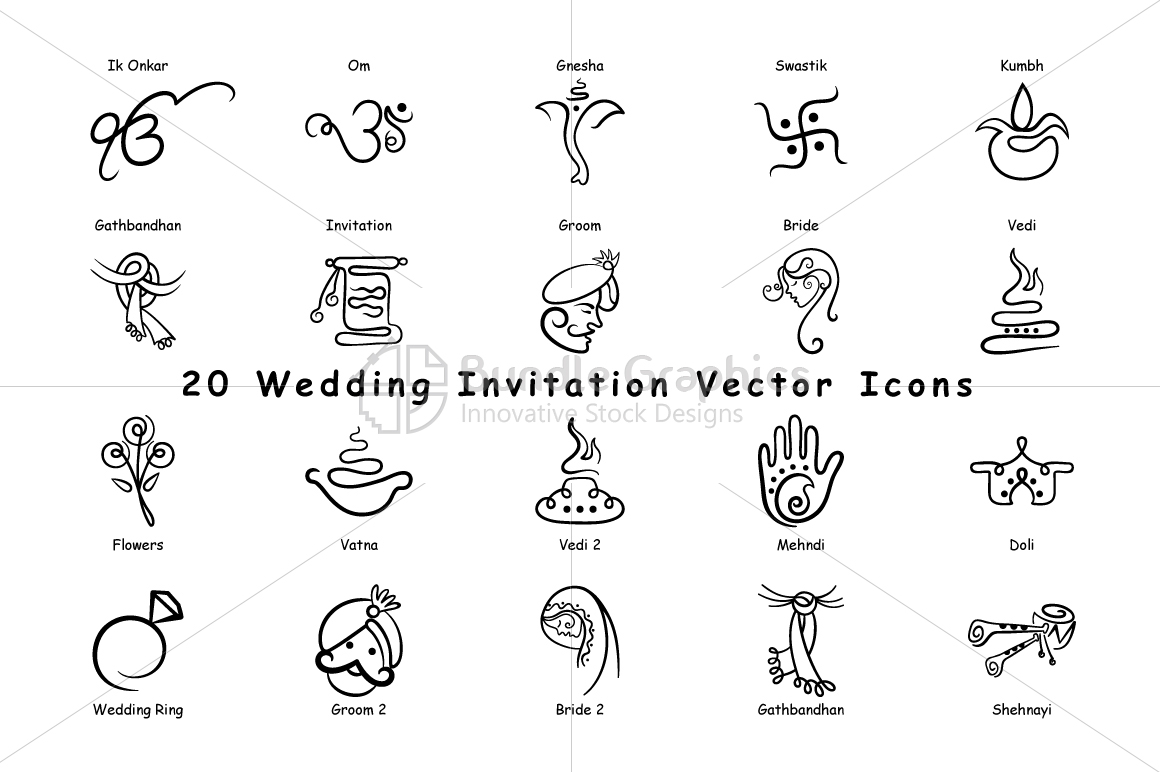 Indian wedding invitation icons vector design bundles indian wedding invitation icons vector pack of 20 example image 2 stopboris Images