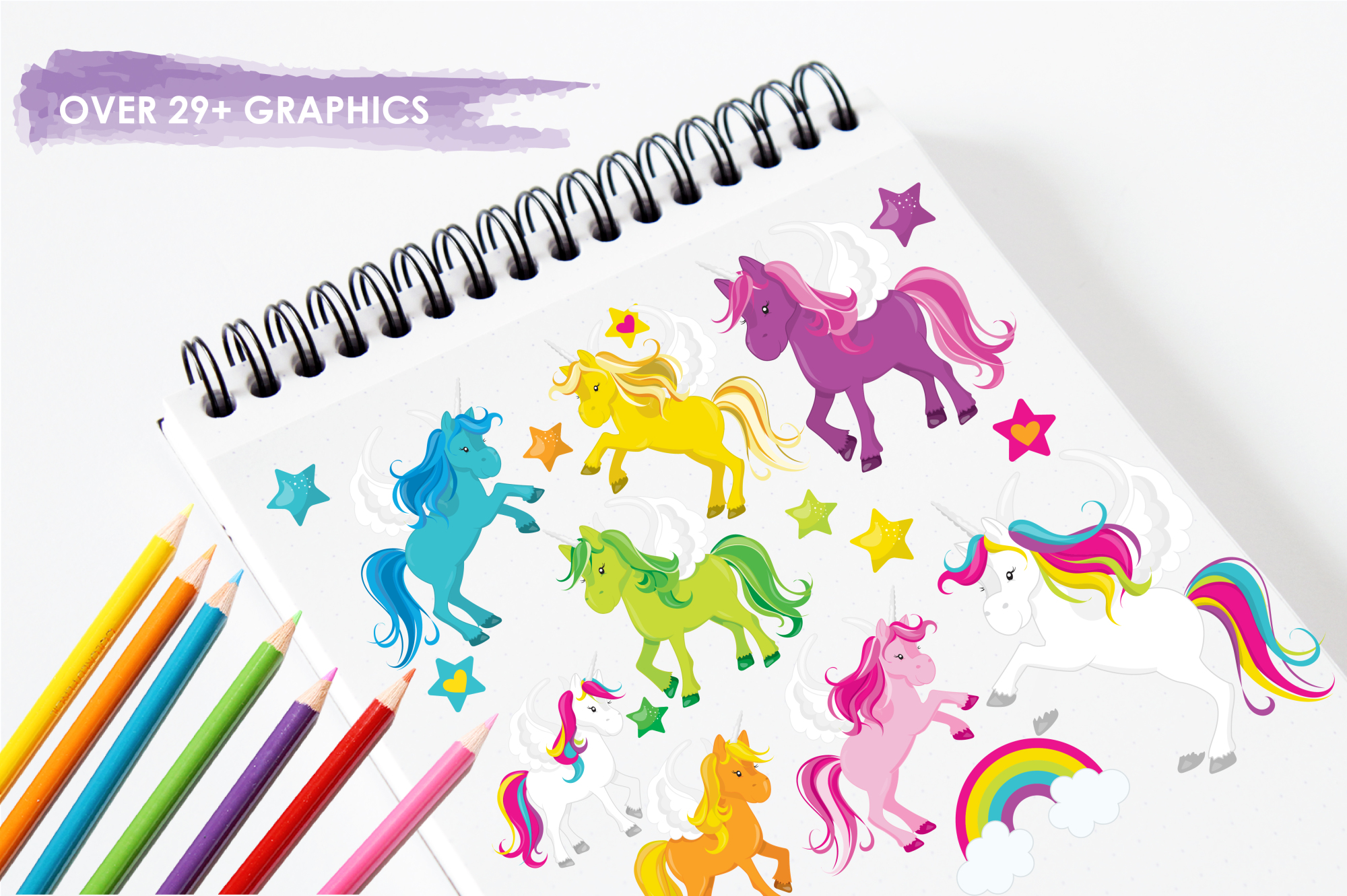 Unicorns and Rainbows graphics and illustrations example image 3