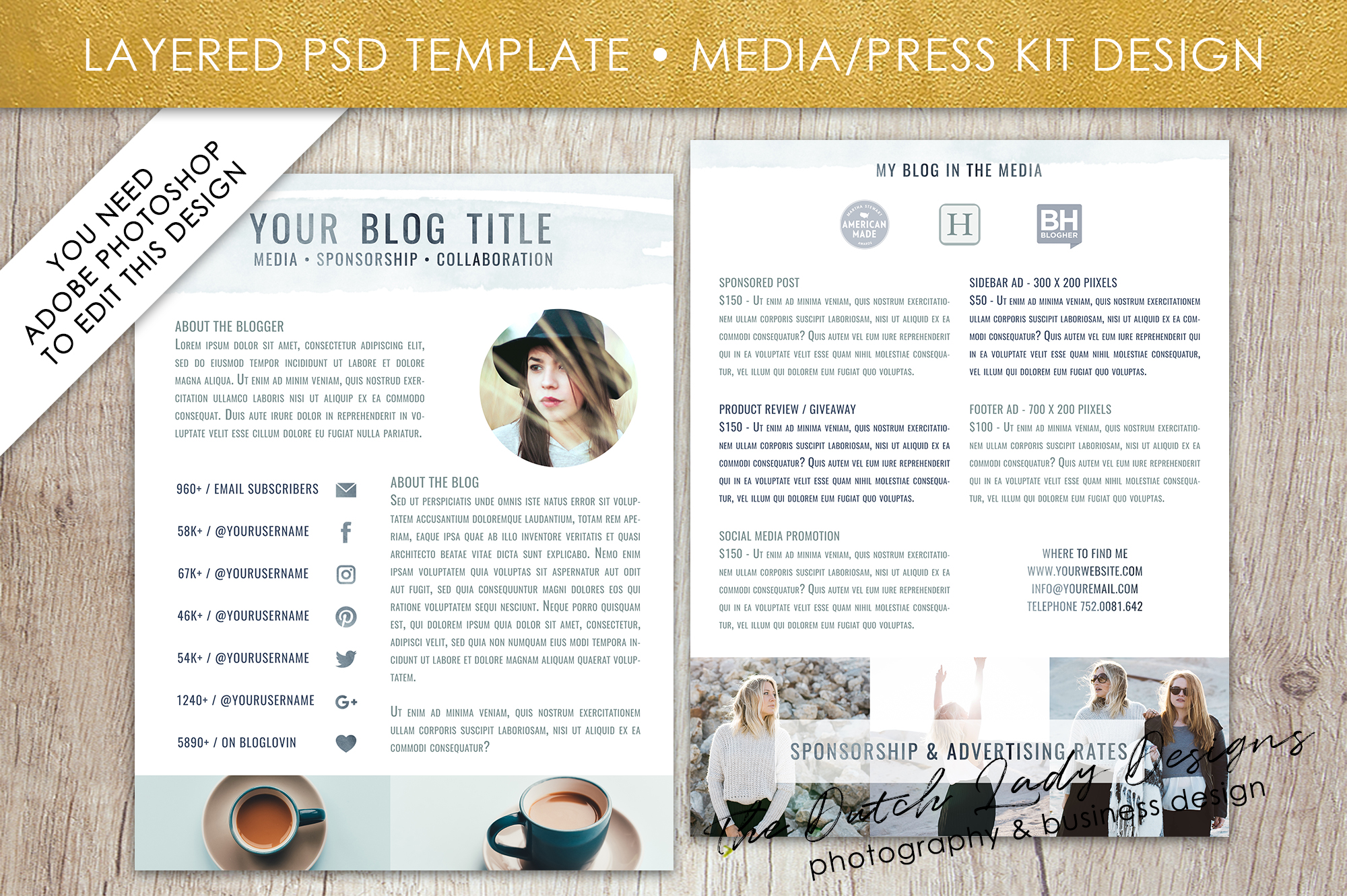 Media Kit  Press Resume Template For A  Design Bundles