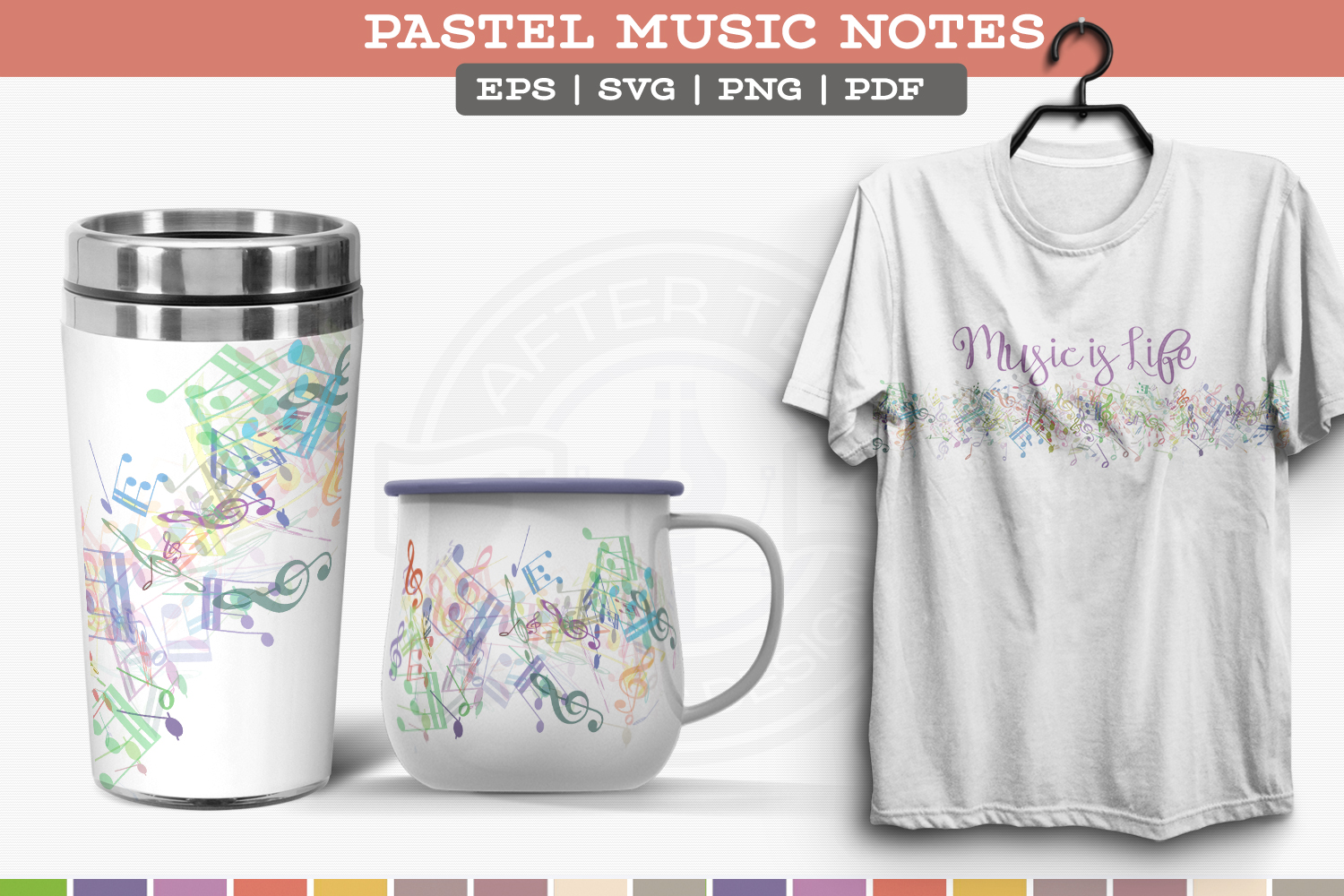 Pastel Music Notes example image 2