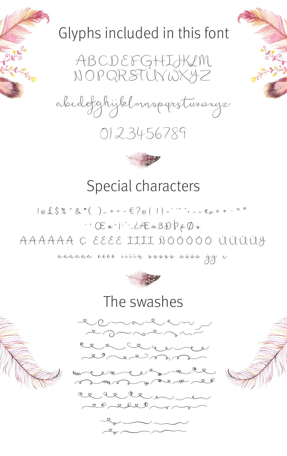 Featherly Font - wedding font example image 3