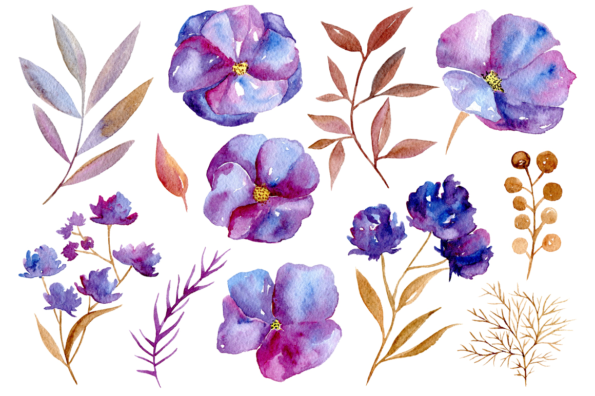 Watercolor Violet Flowers 32 Png Example Image 3