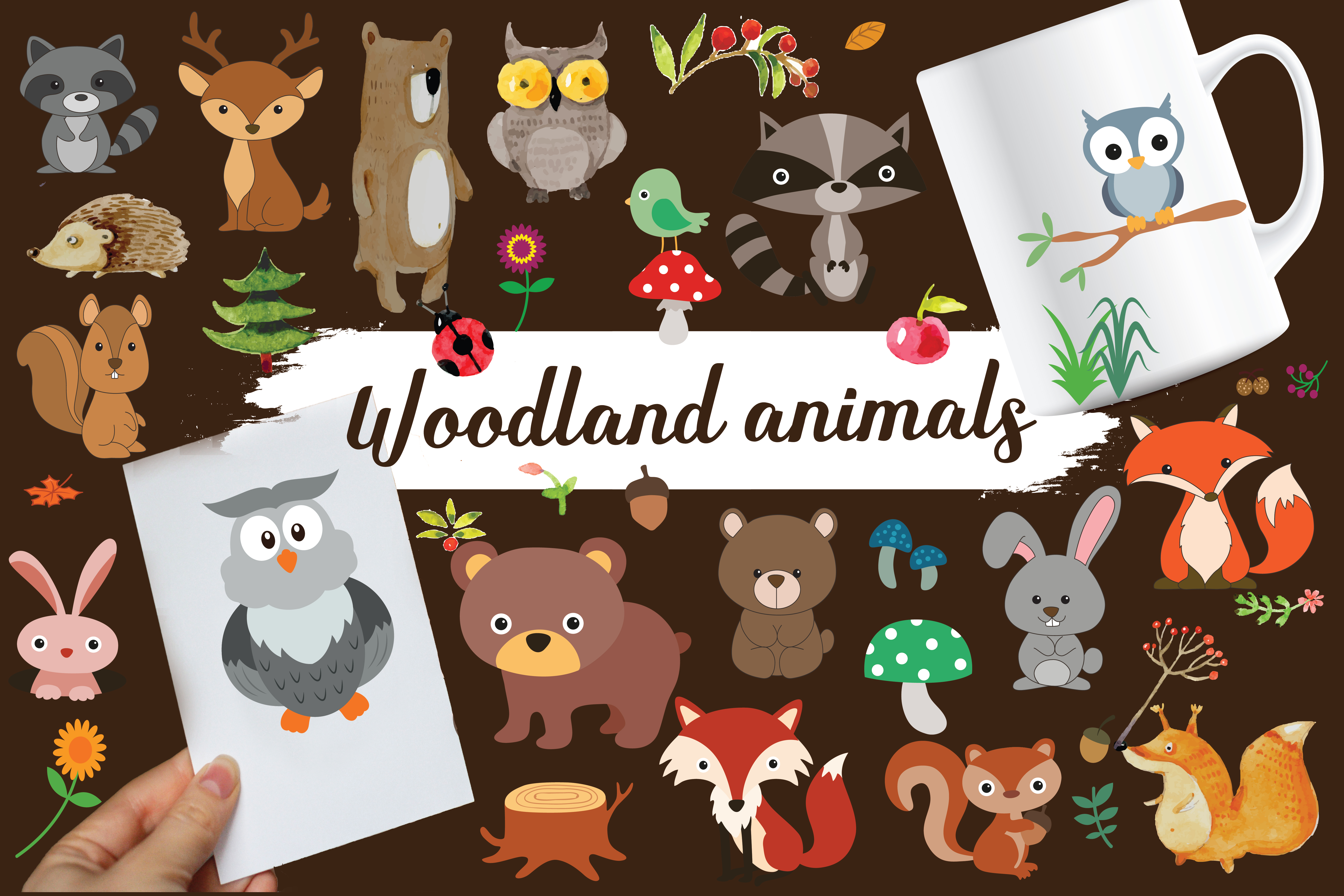 wood land animals,woodland,animals,forest animals,forest,animals,animal,fox,owl,bear example image 1
