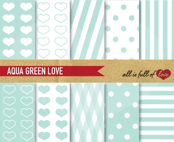 Aqua Green Digital Paper Mint Background Patterns  example image 1