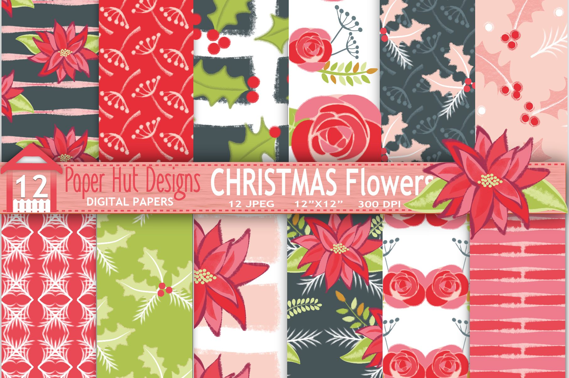 Christmas Floral Digital Papers Example Image 1