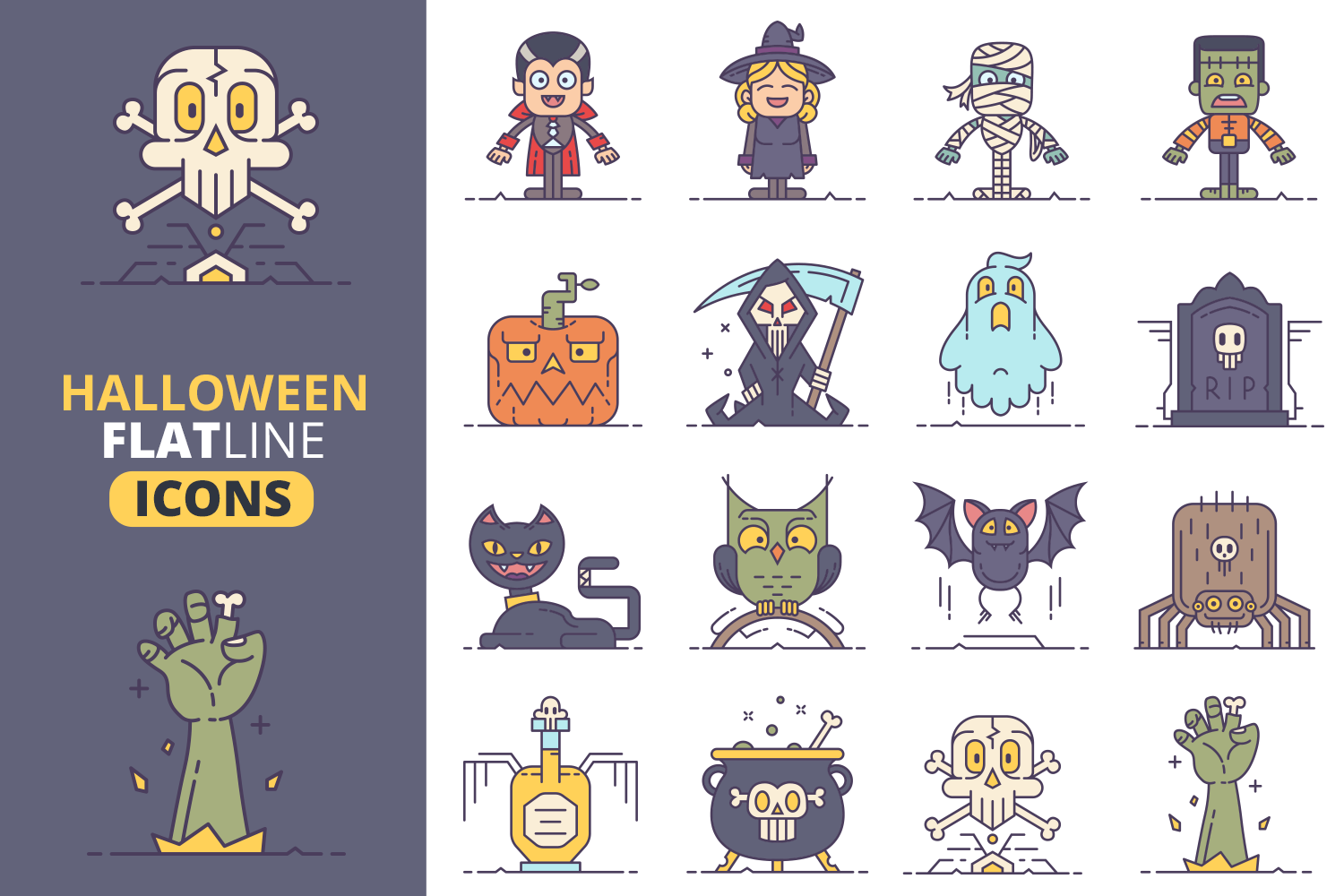 Halloween Flat Line Icons Vol.2 example image 1