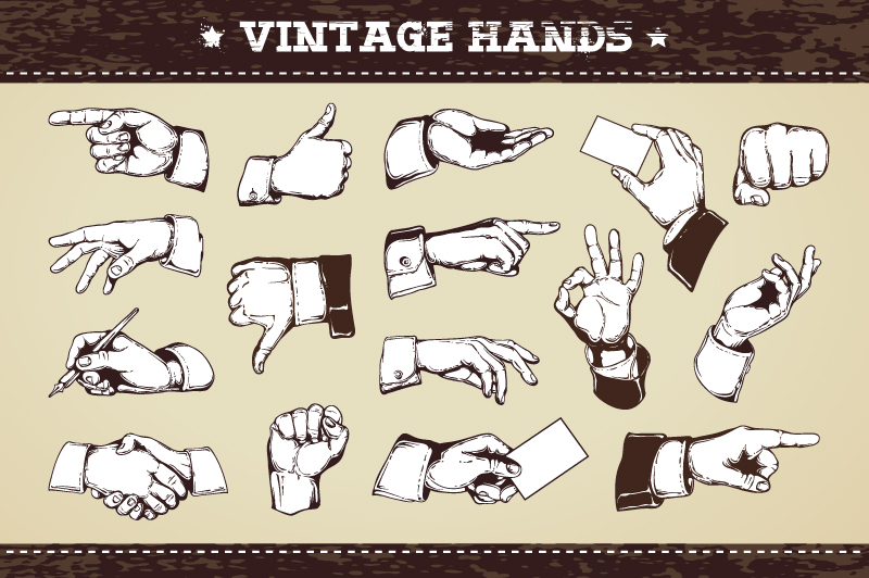 Vintage Hands | Vector Icons example image 1