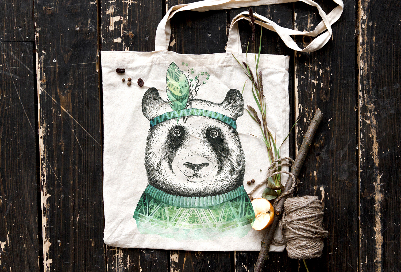 Watercolor panda illustration. Bohemian cute animals.  example image 8