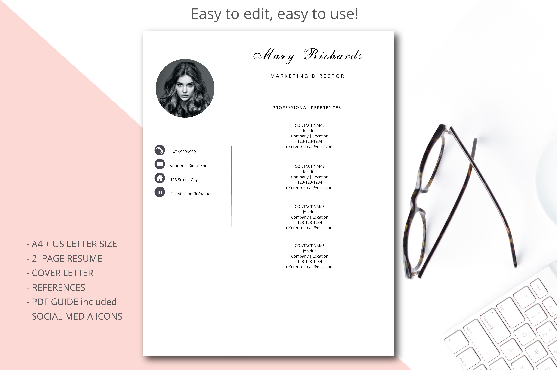 Resume template, CV template simple sty   Design Bundles