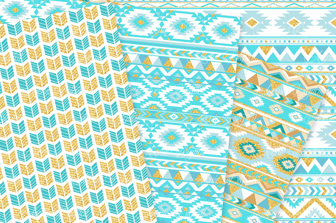 Turquoise and Gold Glitter Boho Seamless Patterns example image 4