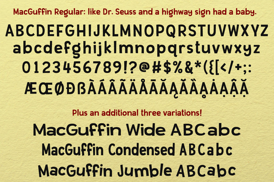MacGuffin fun font set example image 2