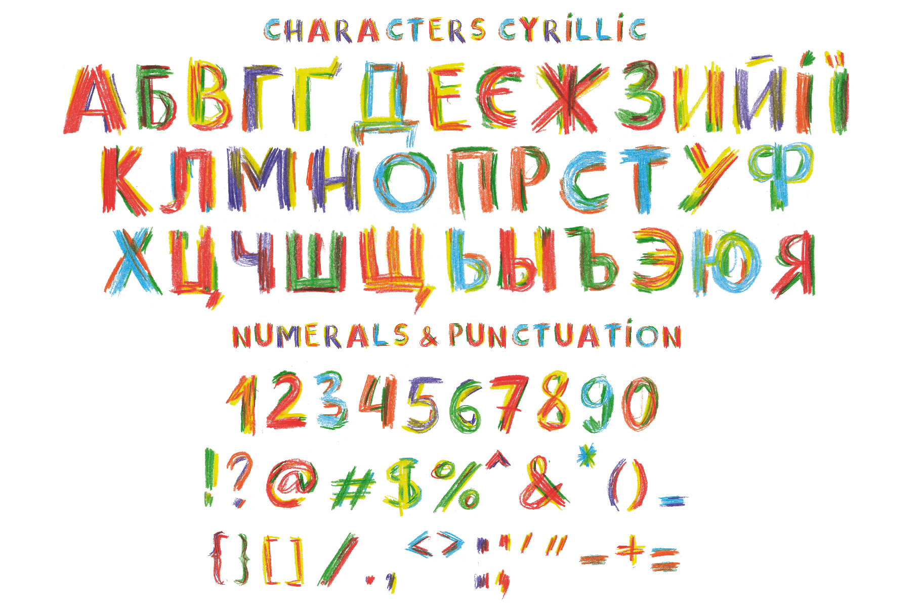 Happy Pencil bitmap color font example image 3