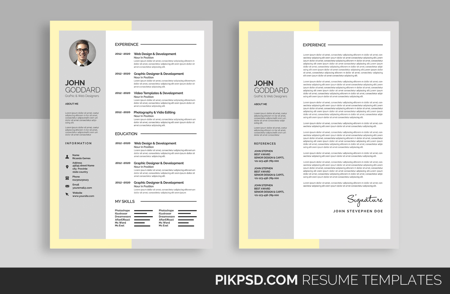 Material Design Resume/CV Set by Busin | Design Bundles