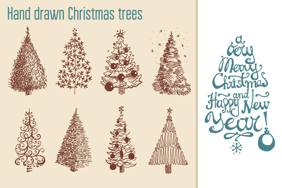 Hand drawn Christmas vector set example image 4