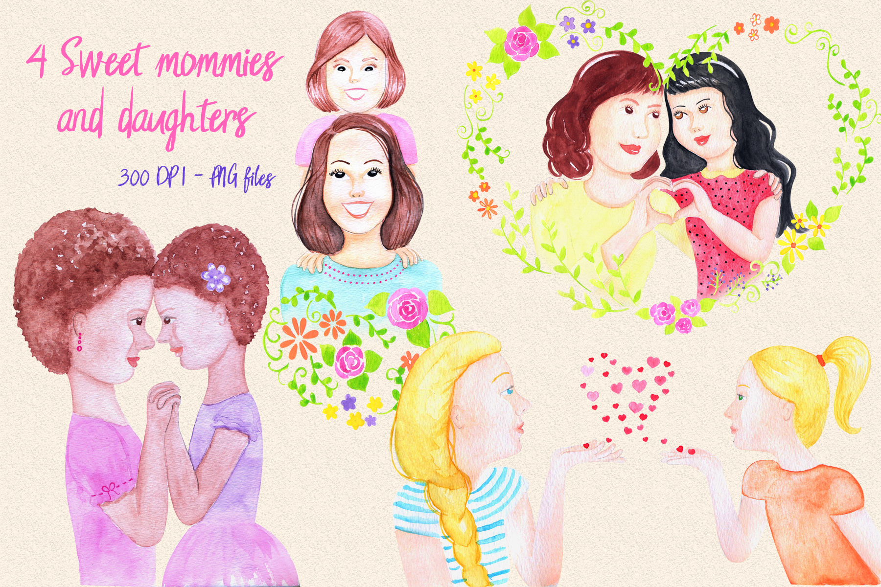 MOMMY SWEET MOMMY - watercolor handmade clipart collection - 20 elements example image 3