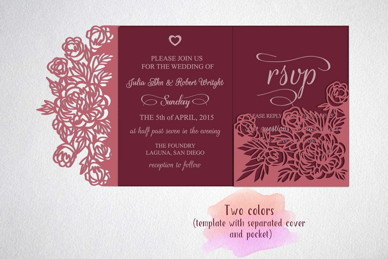 tri fold wedding invitation, svg, cricu | Design Bundles