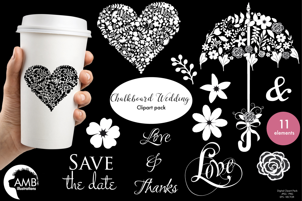 Chalkboard Wedding Floral clipart, graphics, illustrations AMB-1242 example image 1