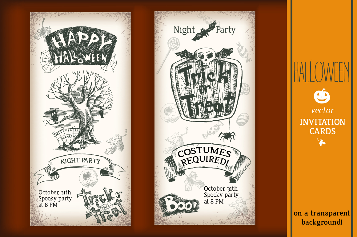 Hand drawn vector Halloween set example image 2