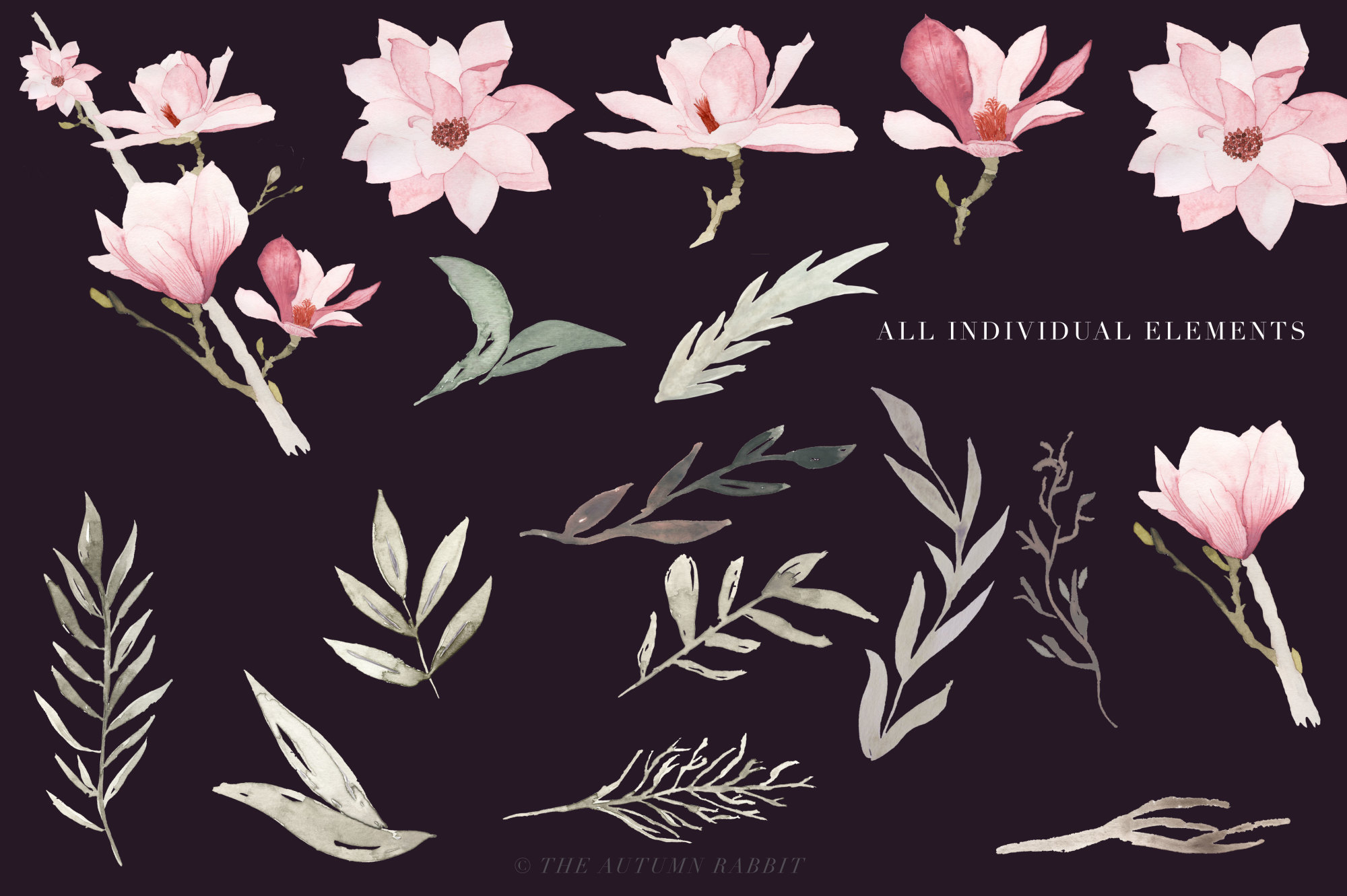 Watercolor Magnolia Floral Clipart example image 3