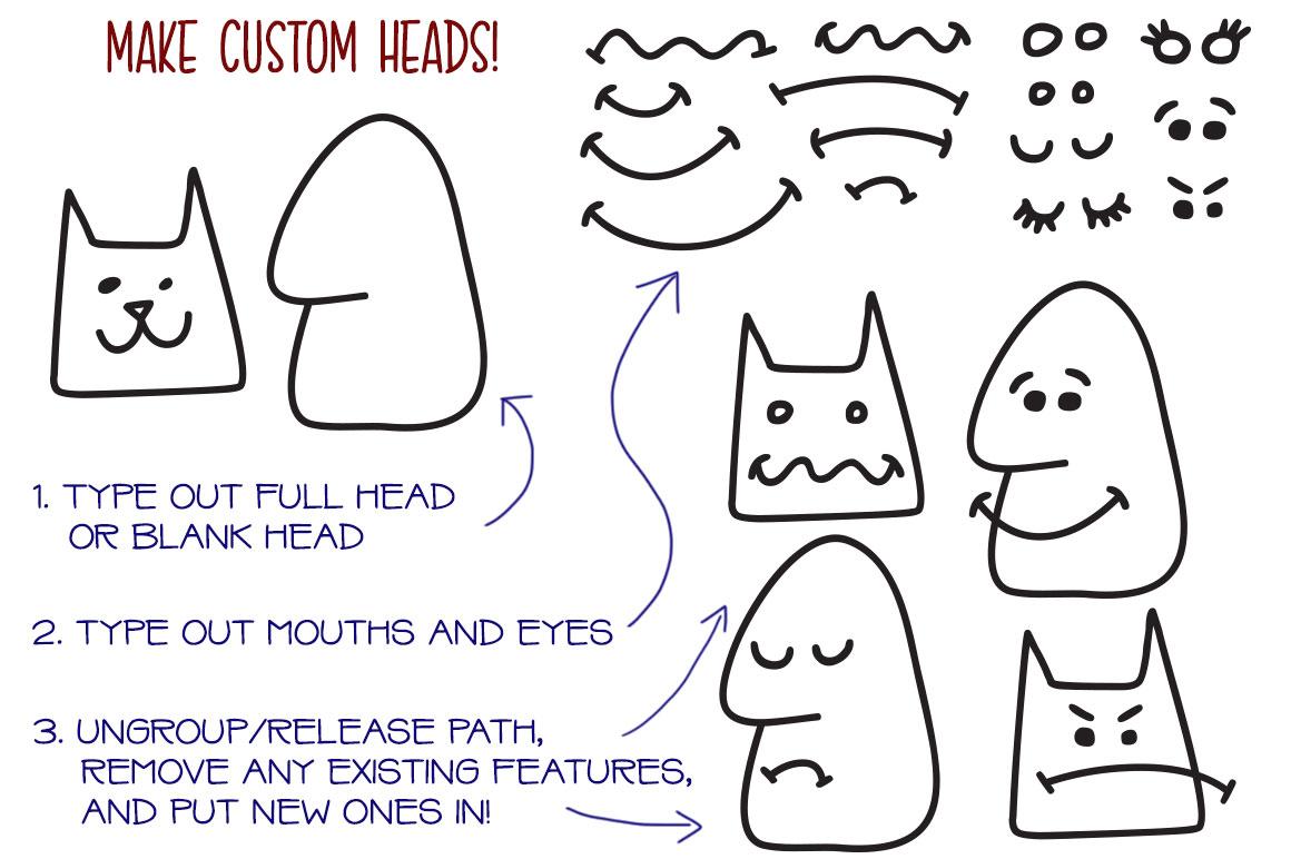 Kookyheads: a dingbat doodle font! example image 3