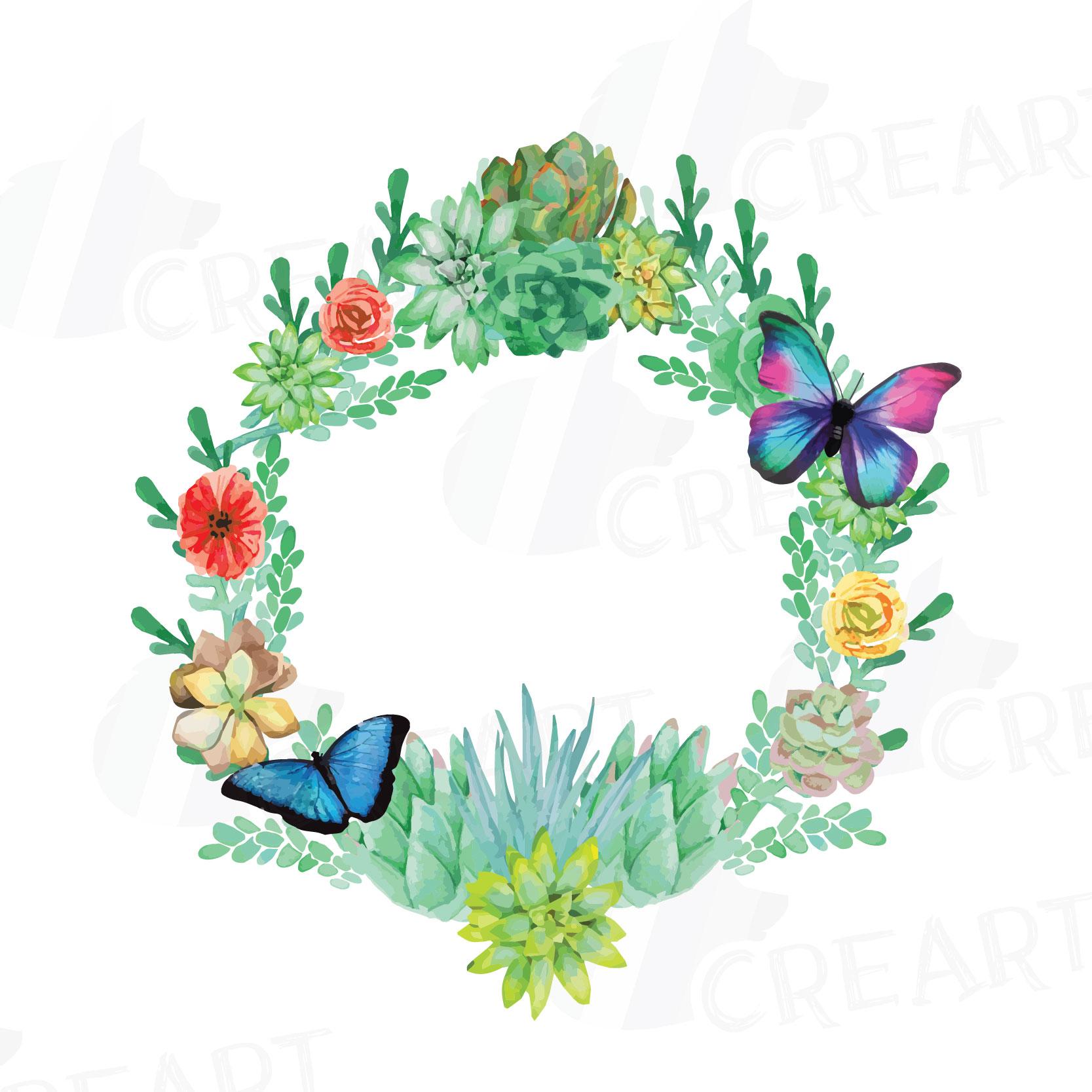 watercolor succulent wreath valentine design bundles rh designbundles net